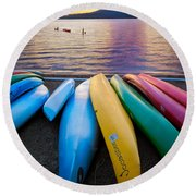Lake Quinault Kayaks Round Beach Towel by Inge Johnsson