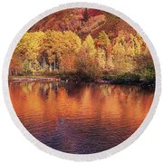 Lake Reflection In Fall 2 Round Beach Towel