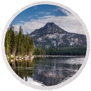 Lake Reflection Round Beach Towel by Robert Bales