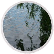 Lake Reflections Of Blue Round Beach Towel