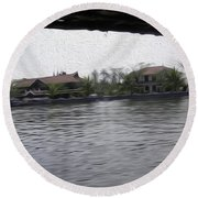 Lake Resort Framed From A Houseboat Round Beach Towel