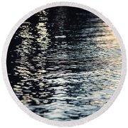 Lake Ripples In Blue At Sunset Round Beach Towel