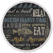 Lake Rules-relax Round Beach Towel