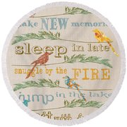 Lake Rules With Birds-c Round Beach Towel
