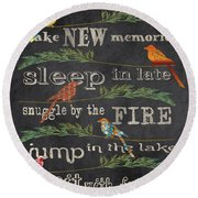 Lake Rules With Birds-d Round Beach Towel