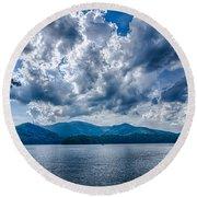 Lake Santeetlah In Great Smoky Mountains Nc Round Beach Towel