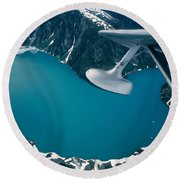 Lake Seen From A Seaplane Round Beach Towel