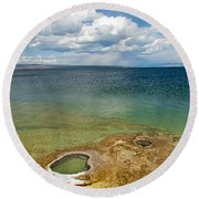 Lake Shore Geyser In West Thumb Geyser Basin Round Beach Towel