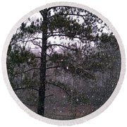 Lake Snowfall Round Beach Towel