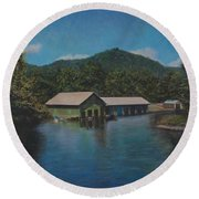 Lake Squam Off Rte. 3 In Holderness Nh Round Beach Towel