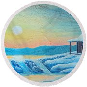 Lake Sunrise And The Old Cabin Round Beach Towel