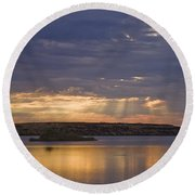 Lake Sunrise Round Beach Towel