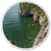 Lake Superior Cliff Scene 9 Round Beach Towel