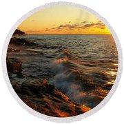 Lake Superior Dawn Round Beach Towel