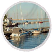 View Of The Harbor Round Beach Towel