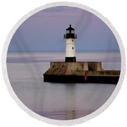 Lake Superior Lighthouse Round Beach Towel