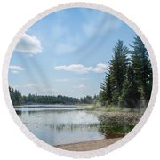 Up North - Lake Superior Misty Beach Round Beach Towel