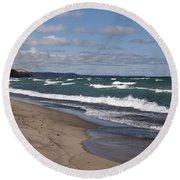 Lake Superior Shoreline Round Beach Towel