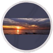 Lake Superior Sunset Panorama Round Beach Towel