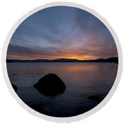 Lake Tahoe Dawn Round Beach Towel