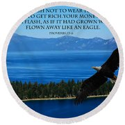 Lake Tahoe Eagle Proverbs Round Beach Towel