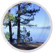 Lake Tahoe In The Morning Round Beach Towel