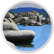 Lake Tahoe Rocky Cove Round Beach Towel