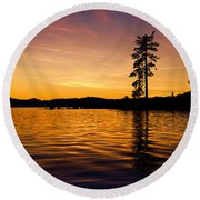 Lake Tahoe Sunset Round Beach Towel