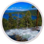 Lake Tahoe Waterfall Round Beach Towel