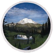 Lake Tipsoo Reflections Round Beach Towel