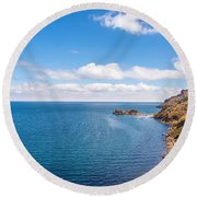 Lake Titicaca Coastline  Round Beach Towel