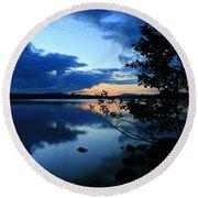 Lake Umbagog Sunset  Round Beach Towel