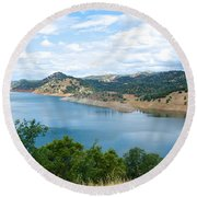Lake View From Hwy 120 Rest Area Going Into Yosemite Np-ca- 2013 Round Beach Towel