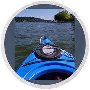 Lake View From Kayak Round Beach Towel