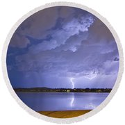 Lake View Lightning Thunderstorm Round Beach Towel