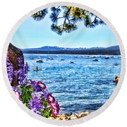 Lake View On Lake Tahoe By Diana Sainz Round Beach Towel