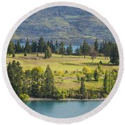 Lake Wakatipu And Queenstown Golf Course Round Beach Towel