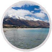 Lake Wakatipu And Snowy New Zealand Mountain Peaks Round Beach Towel