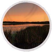 Lake Wausau Marshgrass Round Beach Towel