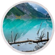 Lake With Canadian Rockies Round Beach Towel