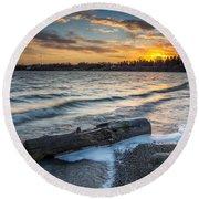 Lake Yankton Minnesota Round Beach Towel
