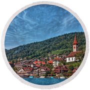 Lakefront Provincial Town Round Beach Towel