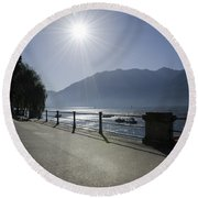 Lakefront With Sun Round Beach Towel
