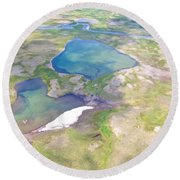Lakes From The Seaplane In Katmai National Preserve-alaska Round Beach Towel