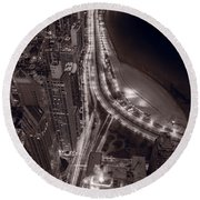 Lakeshore Drive Aloft Bw Warm Round Beach Towel