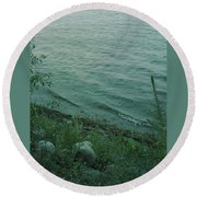 Lakeside At Dusk Round Beach Towel