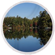 Lakeside Cottage Living - Reflecting On Relaxation Round Beach Towel