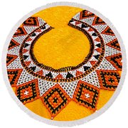 Lakota Souix Dance Collar Round Beach Towel