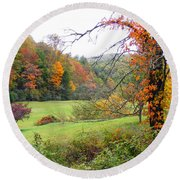 Lamance Valley In The Fall Round Beach Towel