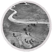 Lamar Valley Black And White Round Beach Towel